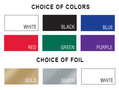 Display of available color and foil choices
