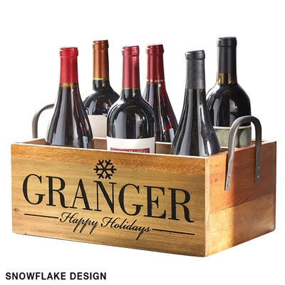 Personalized Wine Carrier Recycled Wood 24408
